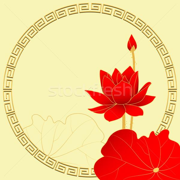 Oriental Lotus Flower on Yellow Background Stock photo © meikis