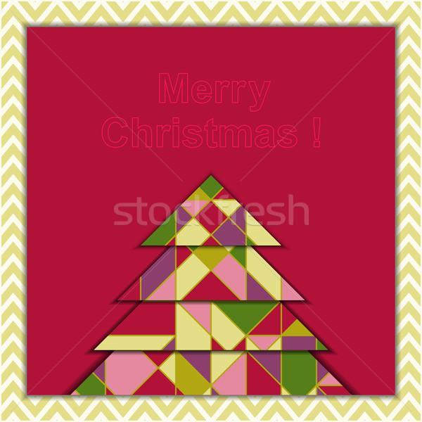 Stockfoto: Christmas · wenskaart · meetkundig · boom · gelukkig · achtergrond