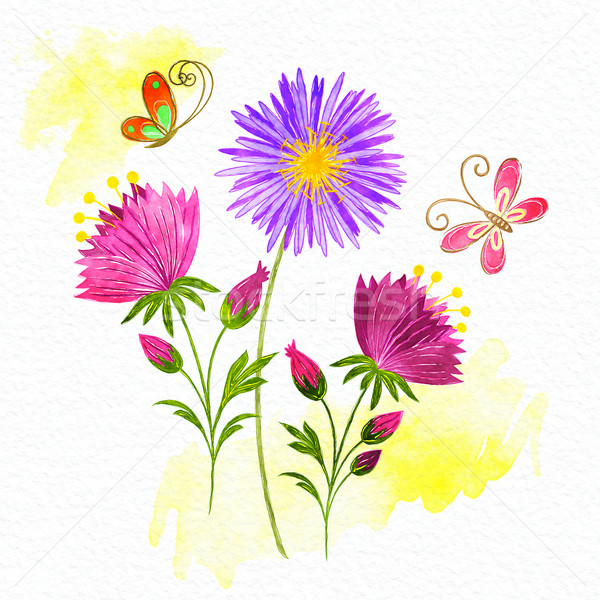 Springtime Colorful Flower and Butterfly Stock photo © meikis