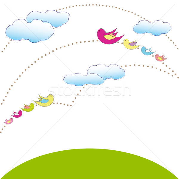 Vert planète coloré oiseau wallpaper printemps Photo stock © meikis