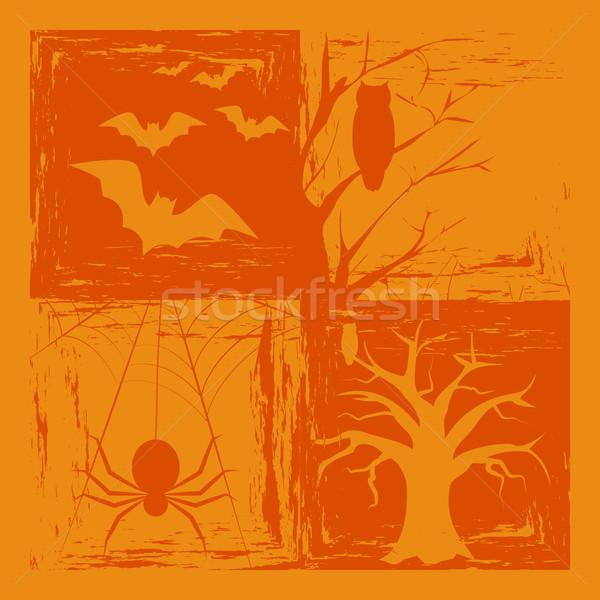 Halloween résumé orange couleur arbre fond Photo stock © meikis