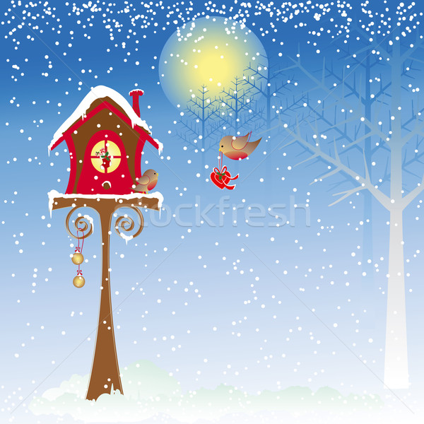 Christmas greeting robin bird wallpaper  Stock photo © meikis
