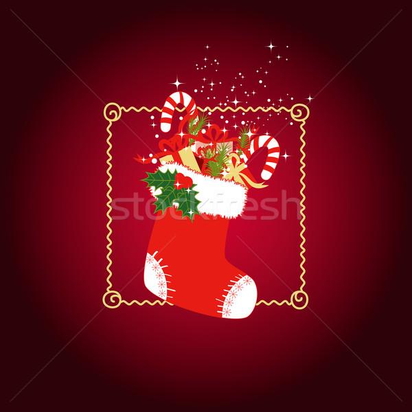 クリスマス グリーティングカード ストッキング カラフル 贈り物 赤 ストックフォト © meikis