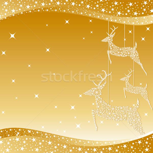 Stok fotoğraf: Altın · Noel · geyik · tebrik · kartı · mutlu · dizayn