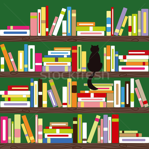 Absztrakt macska színes könyvek könyvespolc háttér Stock fotó © meikis