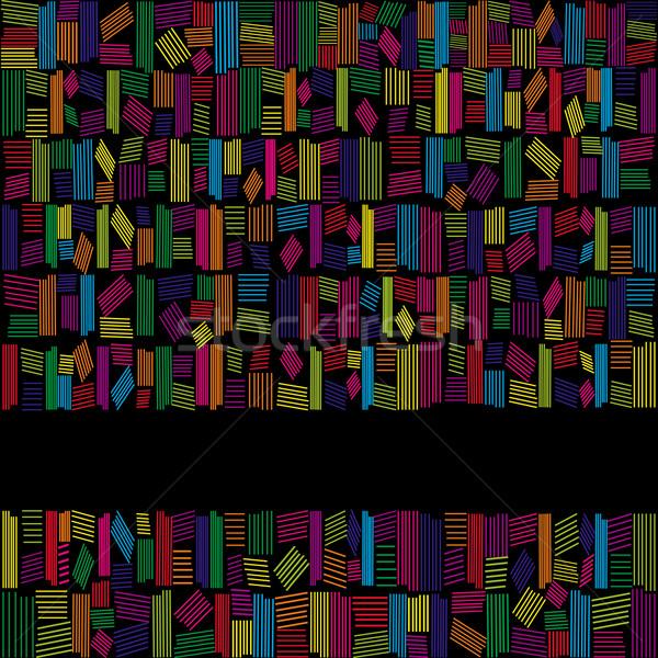 抽象的な 虹色 バナー 黒 背景 フレーム ストックフォト © meikis
