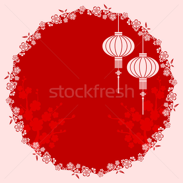 Chinois lanterne illustration cerisiers en fleurs printemps Photo stock © meikis