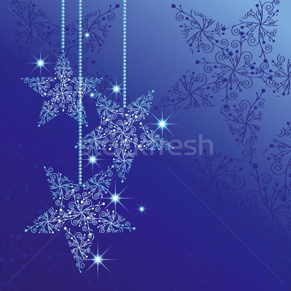 Foto stock: Natal · cartão · estrelas · azul · festa