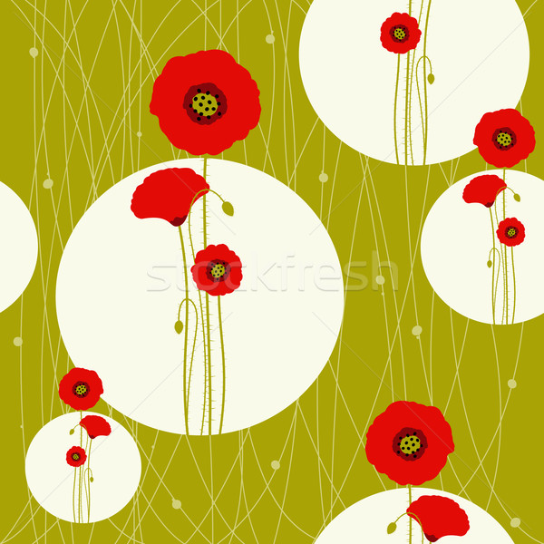 Abstract red poppy on seamless pattern background Stock photo © meikis