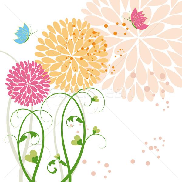 Résumé printemps coloré fleur papillon Daisy Photo stock © meikis