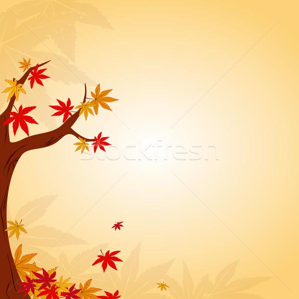 Photo stock: Résumé · coloré · arbre · fond · rouge