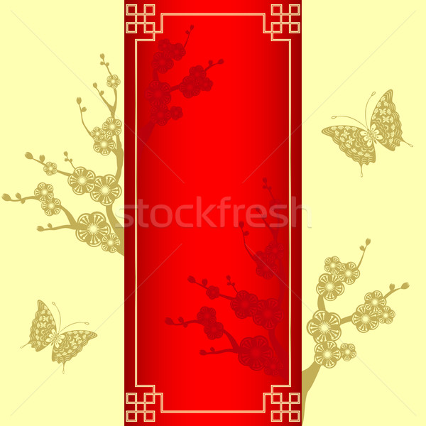 Oriental style Cherry blossom with butterfly Stock photo © meikis