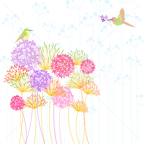 Colorful Hummingbird and Flower Stock photo © meikis