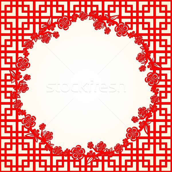 Foto stock: Ano · novo · chinês · flor · de · cereja · quadro · janela · vermelho · férias