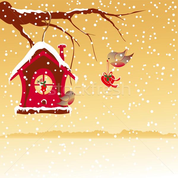 weihnachten tapete vogel baum herzen licht. Black Bedroom Furniture Sets. Home Design Ideas