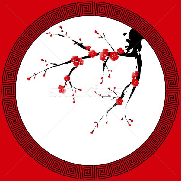 Stock fotó: Kínai · új · év · üdvözlőlap · távolkeleti · stílus · festmény · szilva