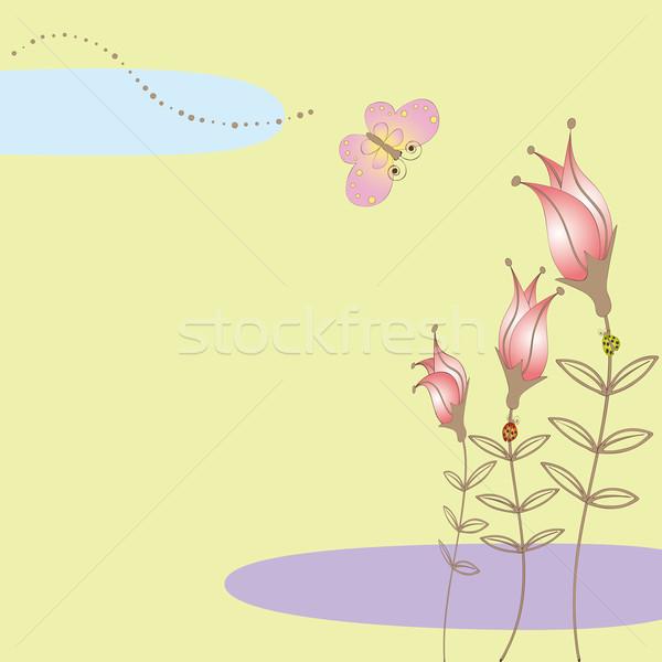 Résumé coloré floral papillon jaune amour Photo stock © meikis