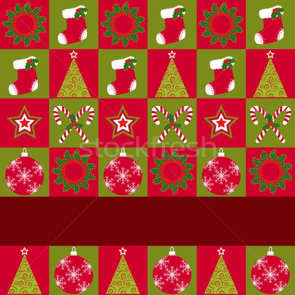 Noël ornement carte de vœux rouge vert Photo stock © meikis