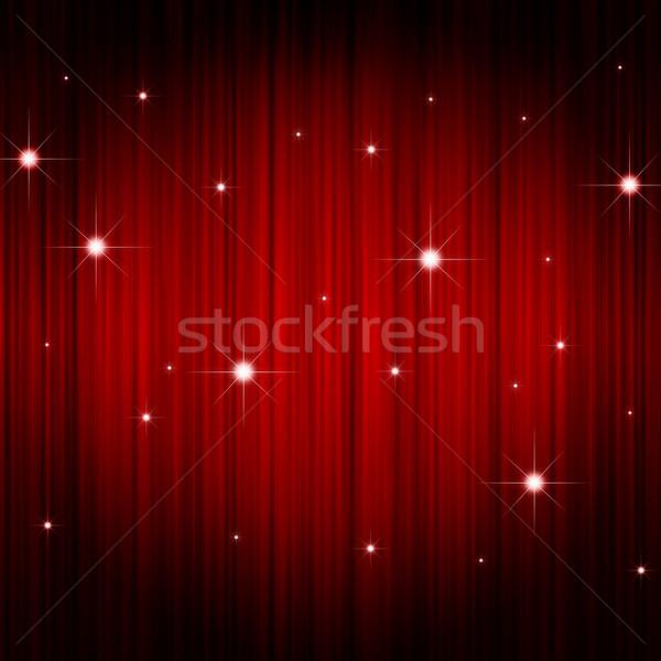 Vermelho cortina estrela estrelas festa Foto stock © meikis