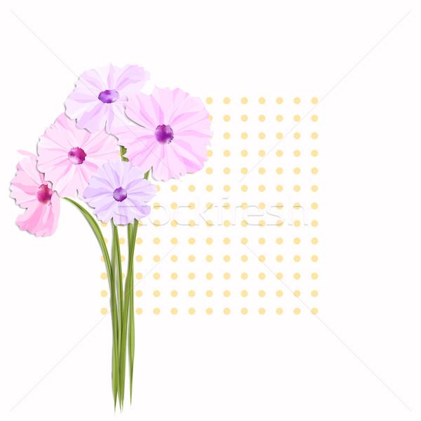 Photo stock: Printemps · carte · de · vœux · coloré · fleurs · image · gradient
