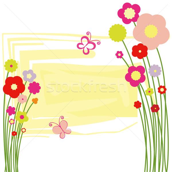 Stock photo: Springtime floral butterfly postcard