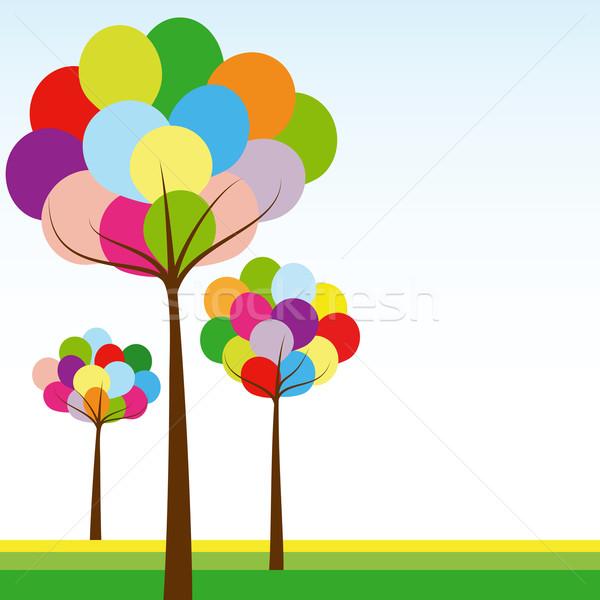 аннотация весна радуга цвета дерево зеленый Сток-фото © meikis