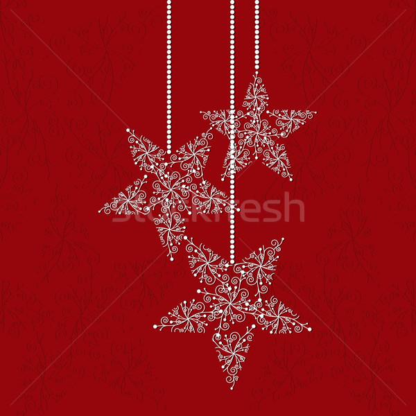 Noël carte de vœux star forme flocons de neige rouge Photo stock © meikis