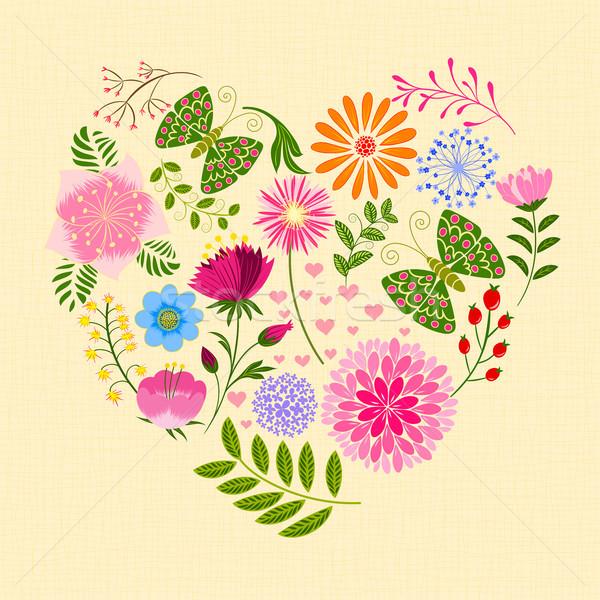 Bahar renkli çiçek kelebek kalp şekli çiçekler Stok fotoğraf © meikis