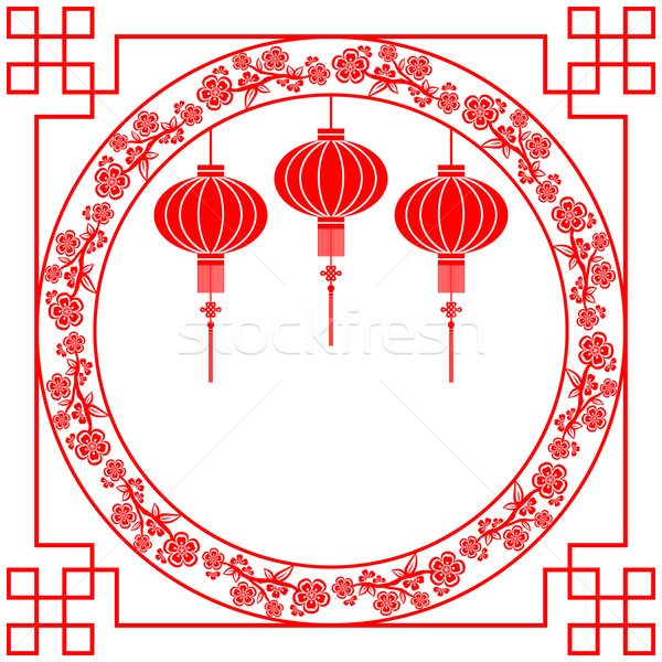 Stock photo: Chinese New Year Red Lantern Background