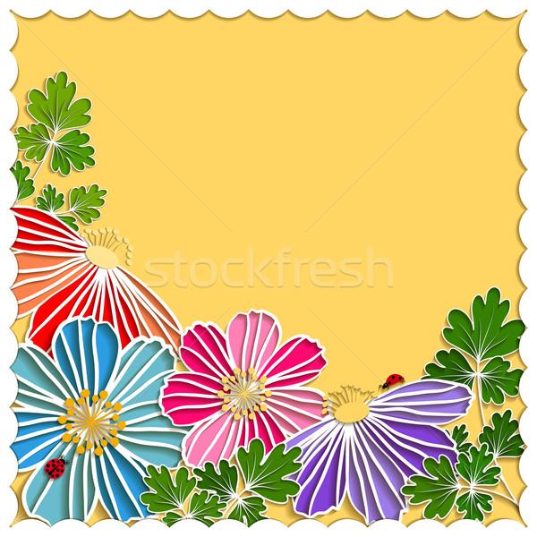 Springtime Colorful Paper Cut Flower Stock photo © meikis