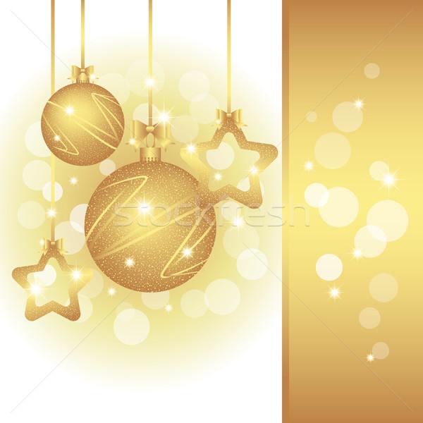Pezsgő karácsony üdvözlőlap arany szín buli Stock fotó © meikis