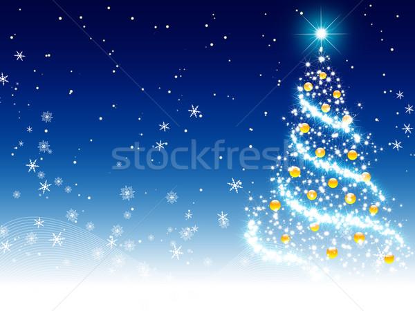 Noël carte de vœux arbre de noël bleu fond Photo stock © meikis
