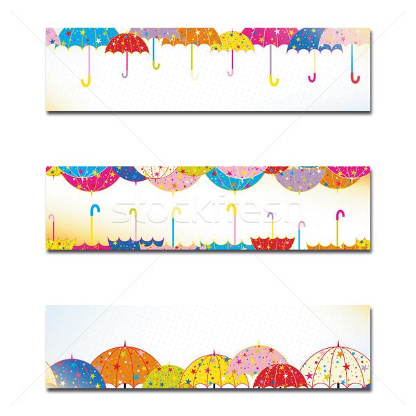 Coloré parapluie automne pluie bannière Photo stock © meikis