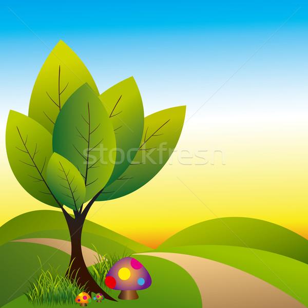 весна страна чудес дерево красочный гриб пейзаж Сток-фото © meikis