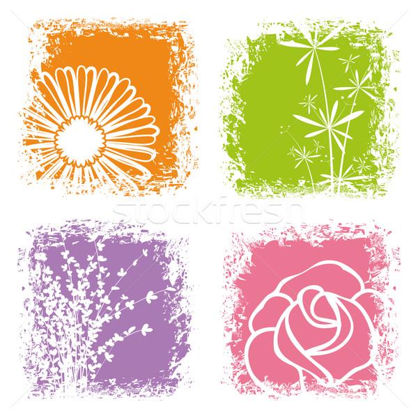 Résumé coloré fleur blanche printemps mariage Photo stock © meikis