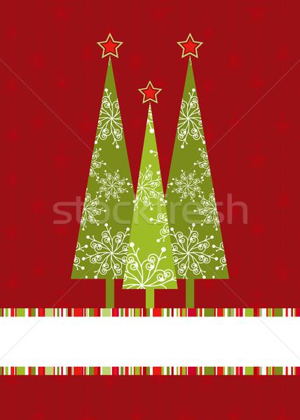 Noël carte de vœux arbre de noël arbre Photo stock © meikis