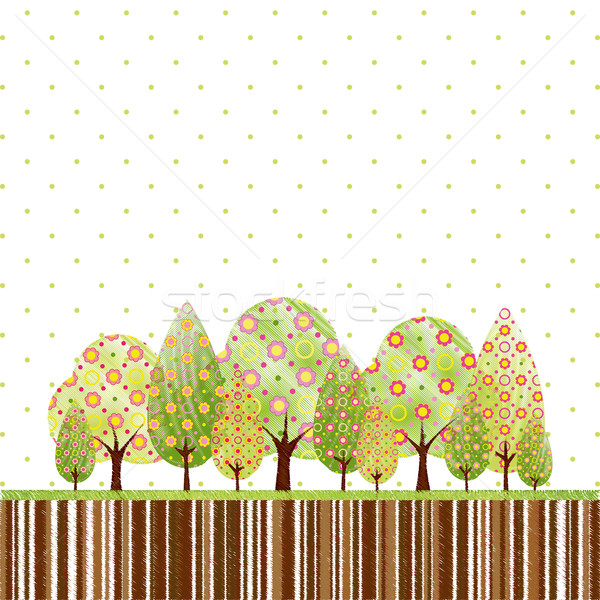 Abstract Springtime Tree With Colorful Flower Vector