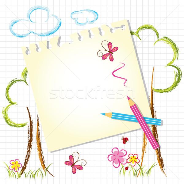 Színes színesceruza rajz levélpapír gyerekek pillangó Stock fotó © meikis