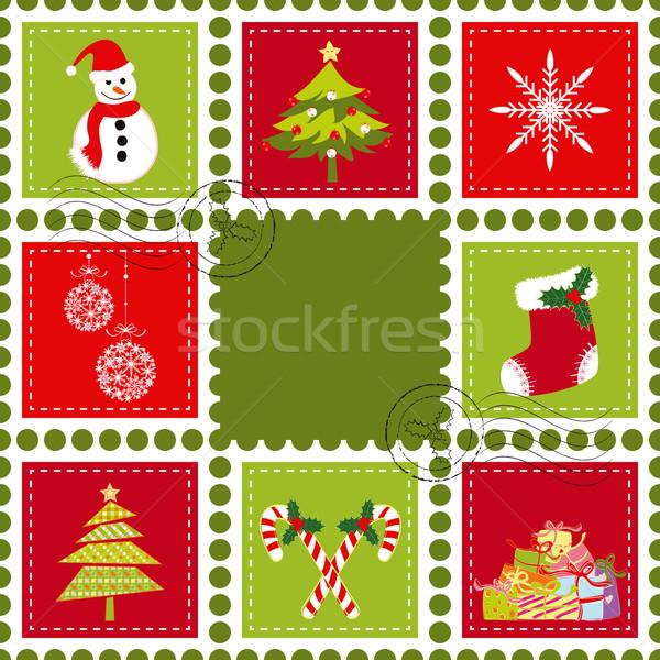 Set of Christmas stamp postage Stock photo © meikis
