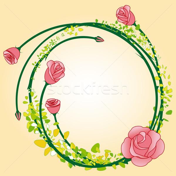 Stock fotó: Absztrakt · színes · rózsa · virág · keret · esküvő