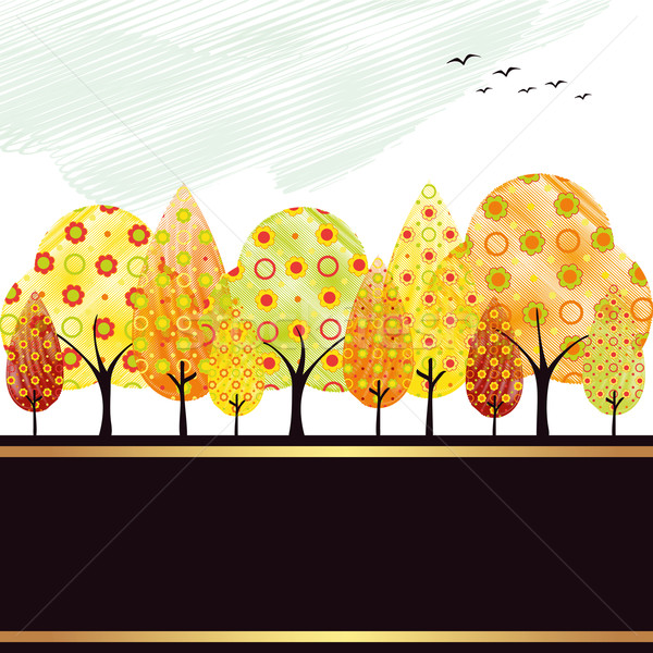Stock photo: Abstract autumn tree greeting card