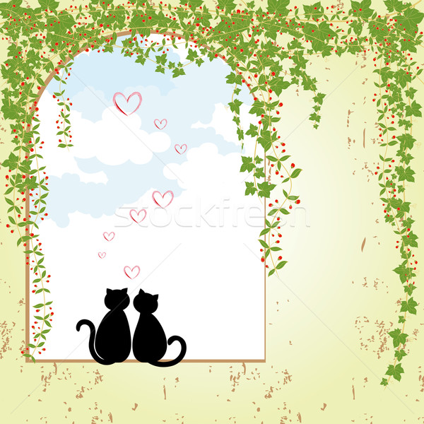 Springtime cat dating Stock photo © meikis