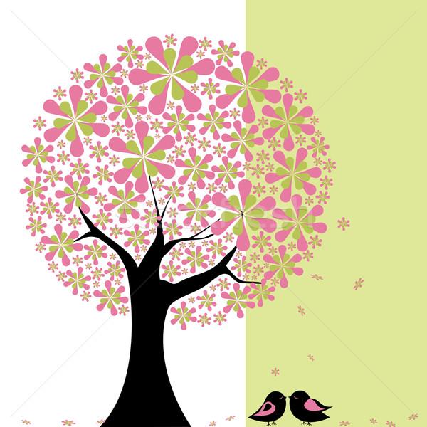 Printemps fleur arbre résumé vert blanche Photo stock © meikis