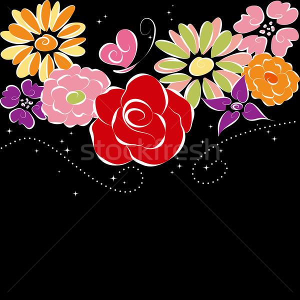 Foto stock: Primavera · colorido · flores · preto · abstrato · flor