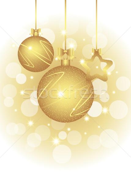 Noël carte de vœux or couleur fête Photo stock © meikis