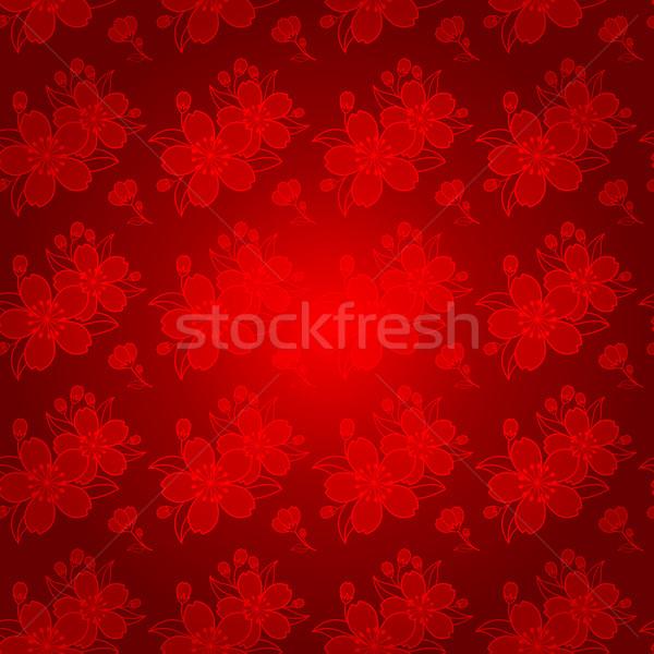 Photo stock: Chinois · cerisiers · en · fleurs · résumé