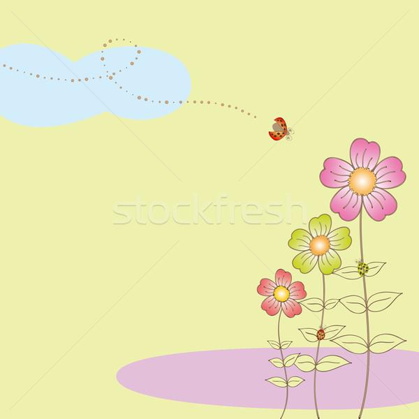 Printemps flore carte postale coccinelle fleur printemps Photo stock © meikis