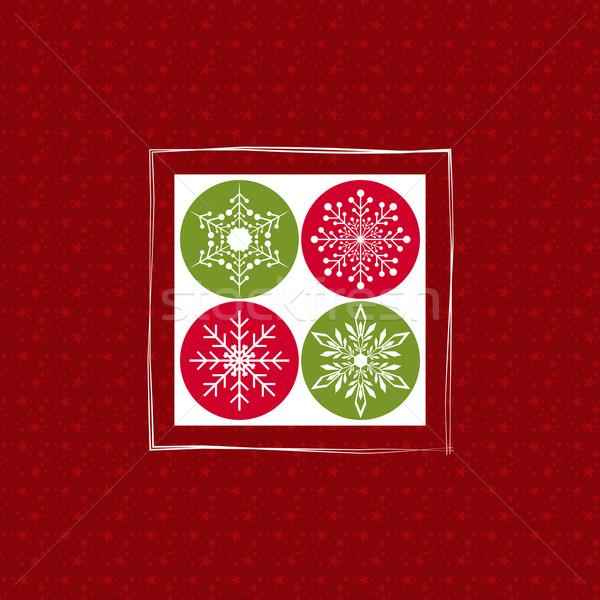 Noël carte de vœux flocons de neige rouge fleur Photo stock © meikis
