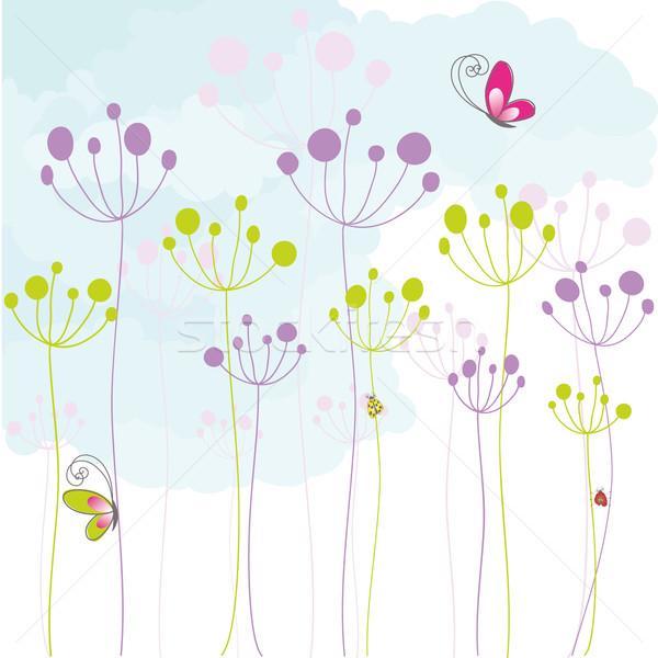 Résumé coloré floral papillon bleu blanche Photo stock © meikis