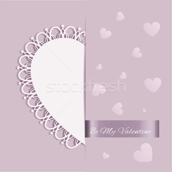 Valentine gün kalp şekli tebrik kartı mor renk Stok fotoğraf © meikis